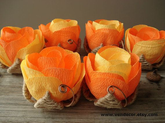 Orange Yellow Wedding Flowers Set of 6 Rustic Wedding by VENDecor