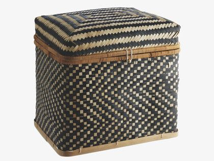 IDAHO BLACK Bamboo Large bamboo lidded storage trunk - HabitatUK