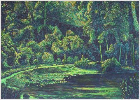 Martin Jacobsson, Akvarell, Skogsdamm / Forest pond