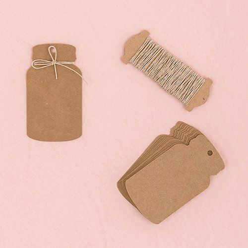 Brimming with rustic charm, these miniature mason jar shaped tags offer up an endless list of possibilities. With the twine included, dress up favor boxes or bags, use as unique place cards or escort
