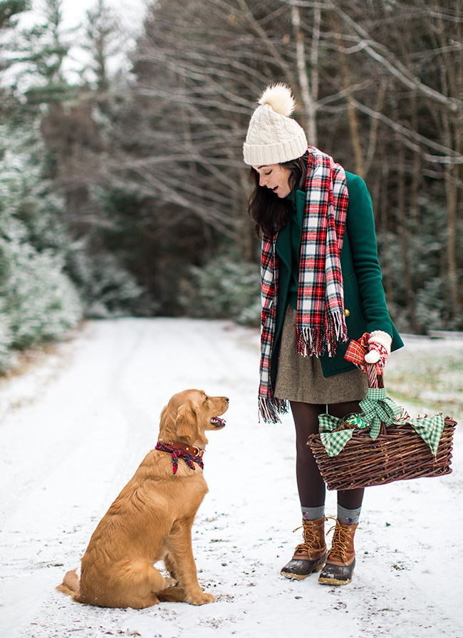winter style and sweet dog friend
