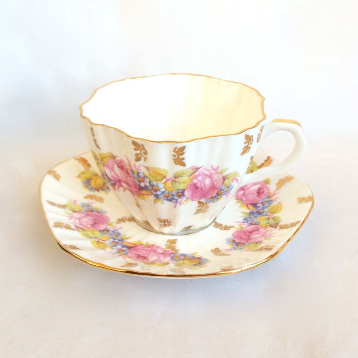 Foley Bone China Teacup Scalloped garland of  pink roses and periwinkle forget me nots by EllasAtticVintage on Etsy