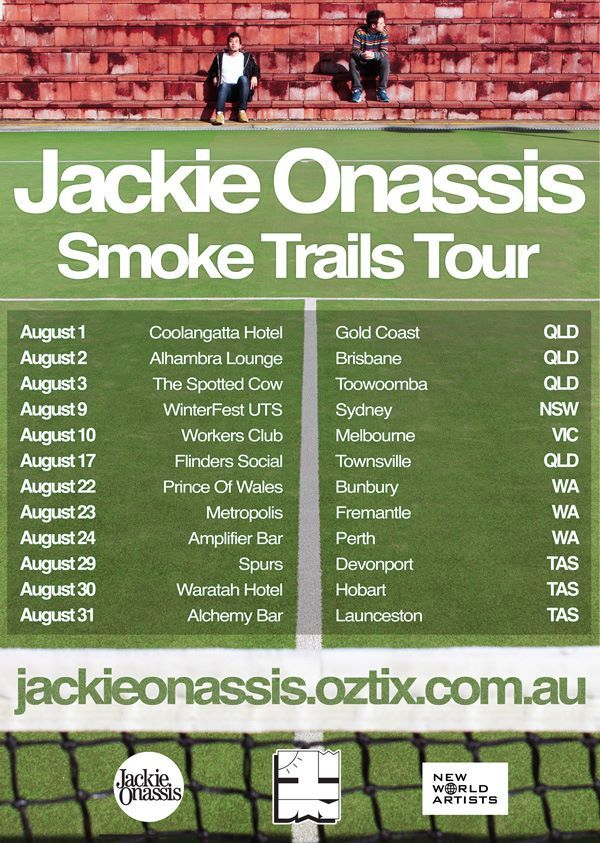 Jackie Onassis - Smoke Trails Tour: Local hip hop duo and long-time friends Kai Tan (MC) and Raphael Dixon (production) aka Jackie Onassis are proud to announce their first national headlining tour Smoke Trails. After a massive 2012 that saw the successful independent release of their debut EP, Holiday and international success of lead single Crystal Balling.