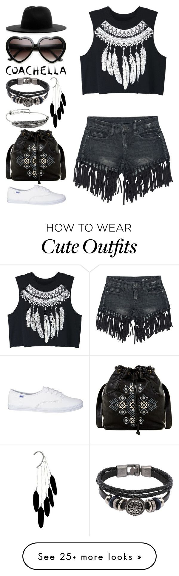 """""""Coachella in Feathers"""" by meaganmuffins on Polyvore featuring Sans Souci, WithChic, T-shirt & Jeans, ZeroUV, Alex and Ani and Études"""