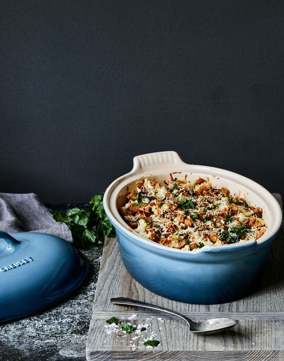 Cauliflower And Kale Casserole With Brown Butter Breadcrumbs