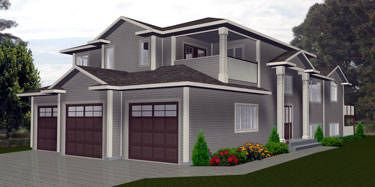 HOUSE PLAN 2011543 - CORNER LOT MODIFIED BI-LEVEL by Edesignsplans.ca. Tall pillars outline entrance, upper floor sitting area overlooks below, master bedroom has its own deck and the basement has a games room, home theatre room, and wet bar.