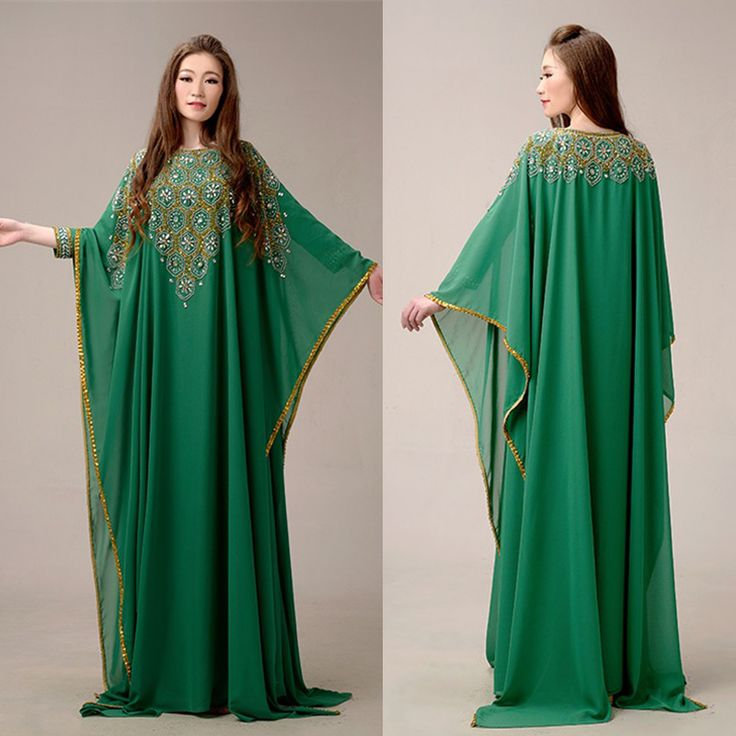 Elegant Green Luxury Chiffon Arabic Dubai Kaftan Muslim Long Sleeve Beaded Rhinestone Evening Gown vestido longo de renda MED06