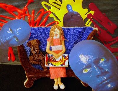 Bead embroidery pop art purple couch Blue Man group painting Boston pop artist Charles Playhouse beader The Lone Beader