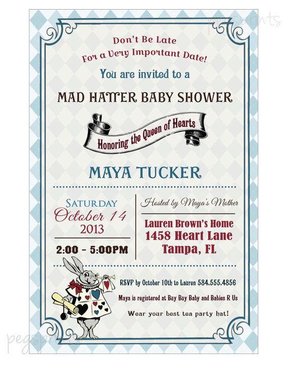 alice in wonderland baby shower invitation mad hatter printable