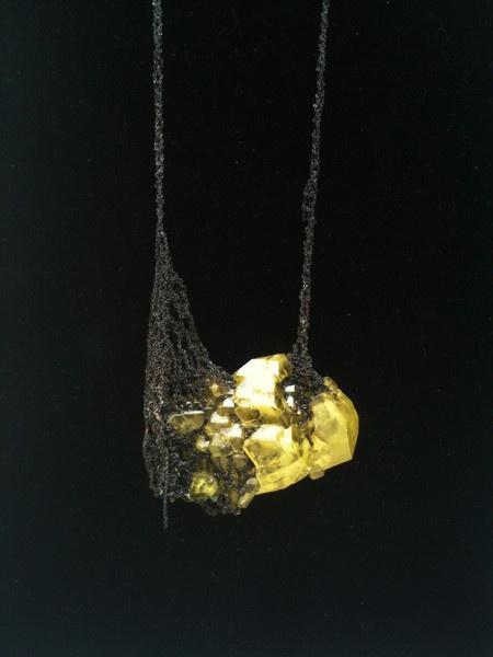 Crystal Drop Necklace - Charcoal + Citron : Arielle de Pinto