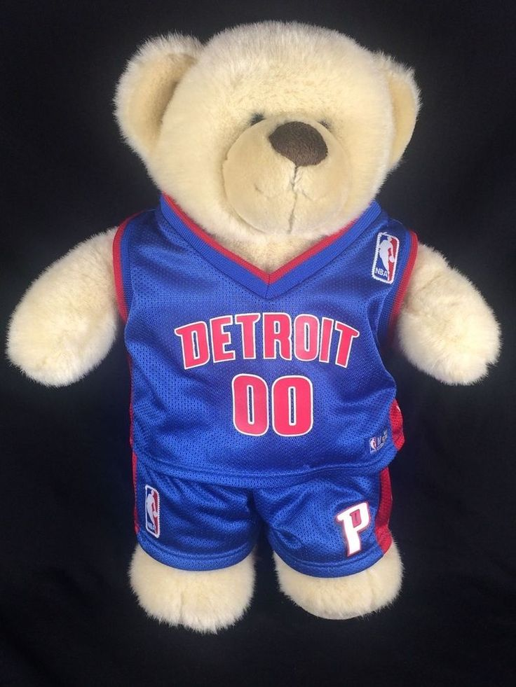 """Build A Bear Detroit Pistons Brown Plush With Jersey Number """"00"""" Great Condition #BuildABearWorkshop #NBA"""
