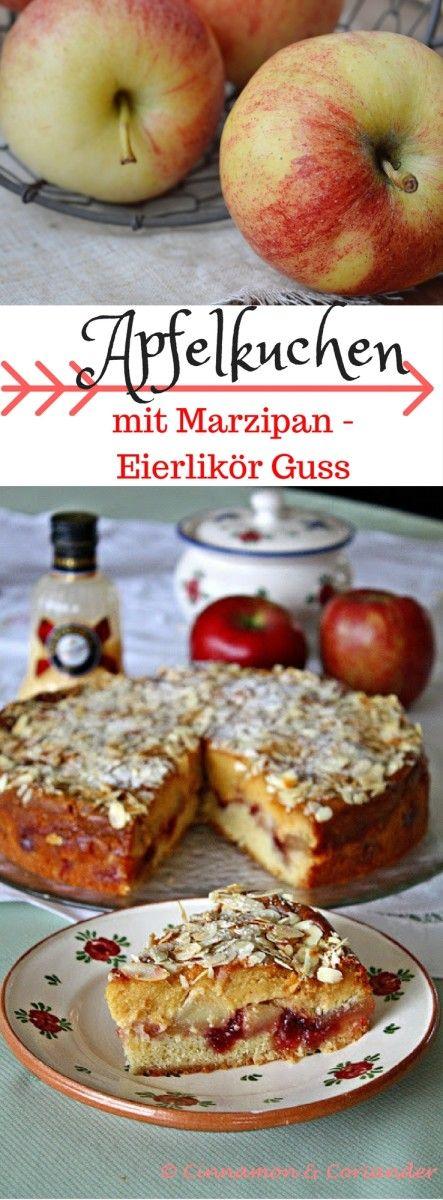 Saftiger Apfelkuchen mit Eierlikör Marzipan Guss und Preiselbeeren. Mein…