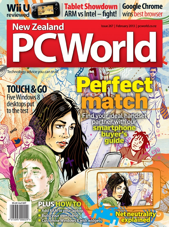 NZ PC World February 2013 - how to pick the right smartphone, with cool illustration by Dean Proudfoot.