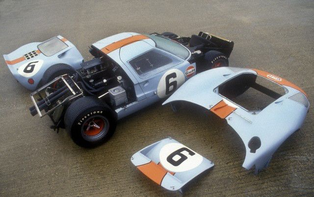 1969 Ford GT40 MK 1 racecar with body panels removed
