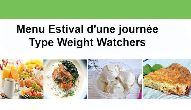 Menu estival d'une journée Type Weight Watchers, des repas équilibrés légers et rafraîchissants sans dépasser 30 Smartpoints.