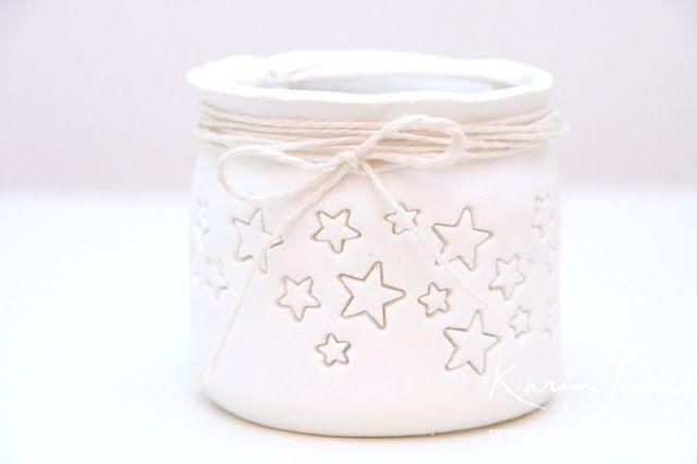 DIY star jar candle holder with video tutorial by Karin Joan: Zelfmaak Sterren Kandelaars