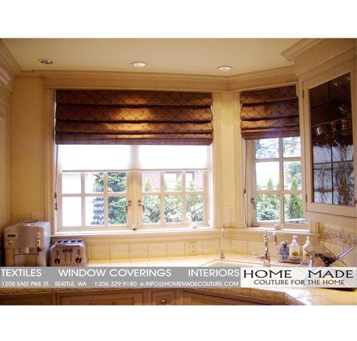 Kitchen roman shades window treatments pinterest for Roman shades for kitchen windows