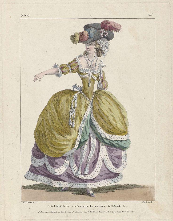 Nicolas Dupin | Marie Antoinette: The Queen of Fashion: Gallerie des Modes et Costumes Français, Nicolas Dupin, Esnauts & Rapilly, 1787 | Vrouw in een baljapon voor aan het hof, met mouwen 'à la Gabrielle'. Hoed met struisveren; opstaande rand aan de zijkant, versierd met gestreepte strik in rood-wit-blauw. Hieronder een muts (?). Verdere accessoires:   twee linten om de hals, schoenen met hak en strik. Uit serie ooo. 1er Cahier de grandes robes d'étiquette de la cour de France faisaint…
