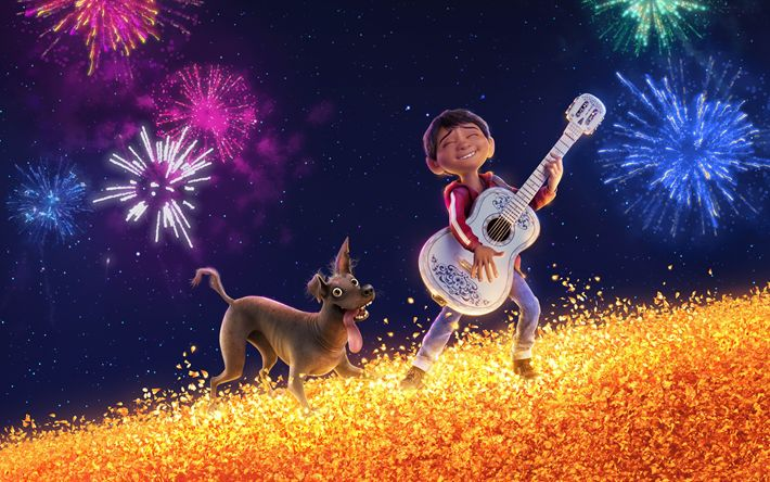 Lataa kuva Miguel, Dante, 4k, Coco, 3d-animaatio, 2017 Elokuva, Pixar, Disney