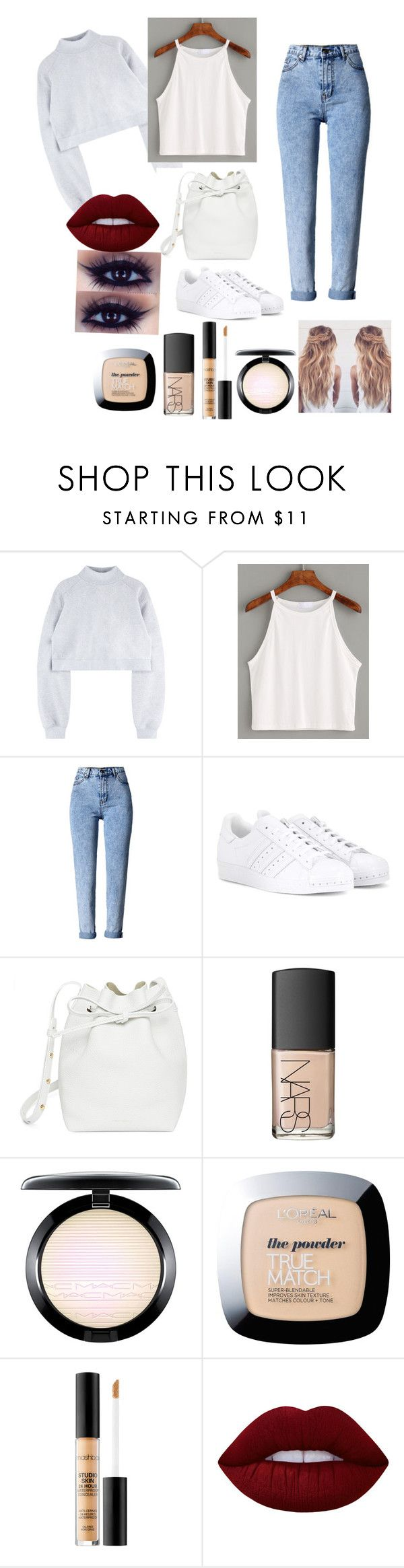 """Lazy day"" by caiaia ❤ liked on Polyvore featuring WithChic, adidas, Mansur Gavriel, NARS Cosmetics, MAC Cosmetics, L'Oréal Paris, Smashbox, Lime Crime and lazy"