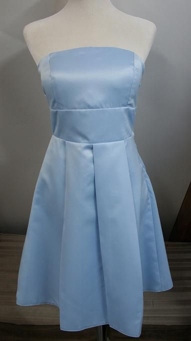 light blue satin knee length. Now only $95 to buy or $49 to hire