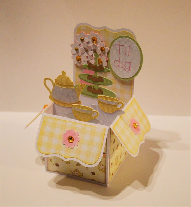 Helle's beautiful Tea Party Box Card from the SVGCuts Box Cards SVG Kit #papercrafts #svgfiles