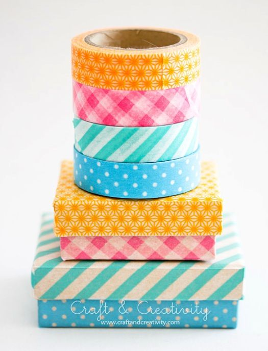 How to make washi tape boxes. Quick, upcycle those little jewelry box outer's for little gift boxes!