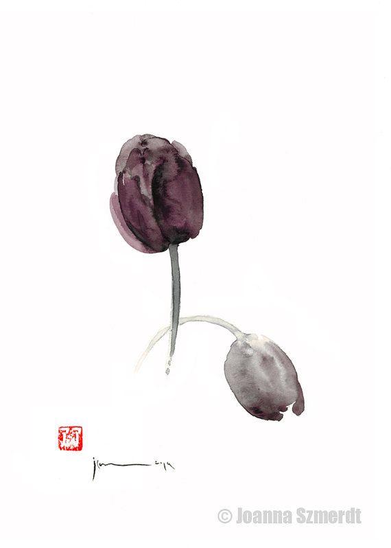 Tulip painting art tulip clipart tulip decor watercolor painting by Joanna Szmerdt