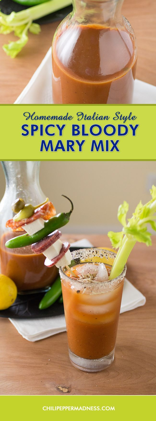 Homemade Italian Style Spicy Bloody Mary Mix - Make your own garden fresh Bloody Mary mix at home with this recipe that includes tomatoes and peppers picked straight from the garden and plenty of Italian herbs and seasonings.