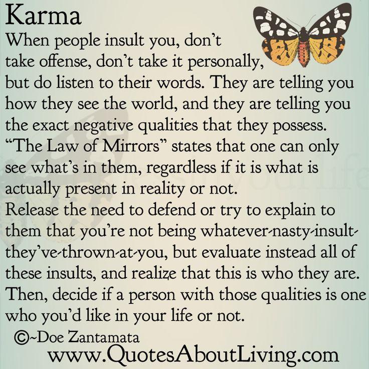 Quotes About Living - Doe Zantamata: Karma - Insults