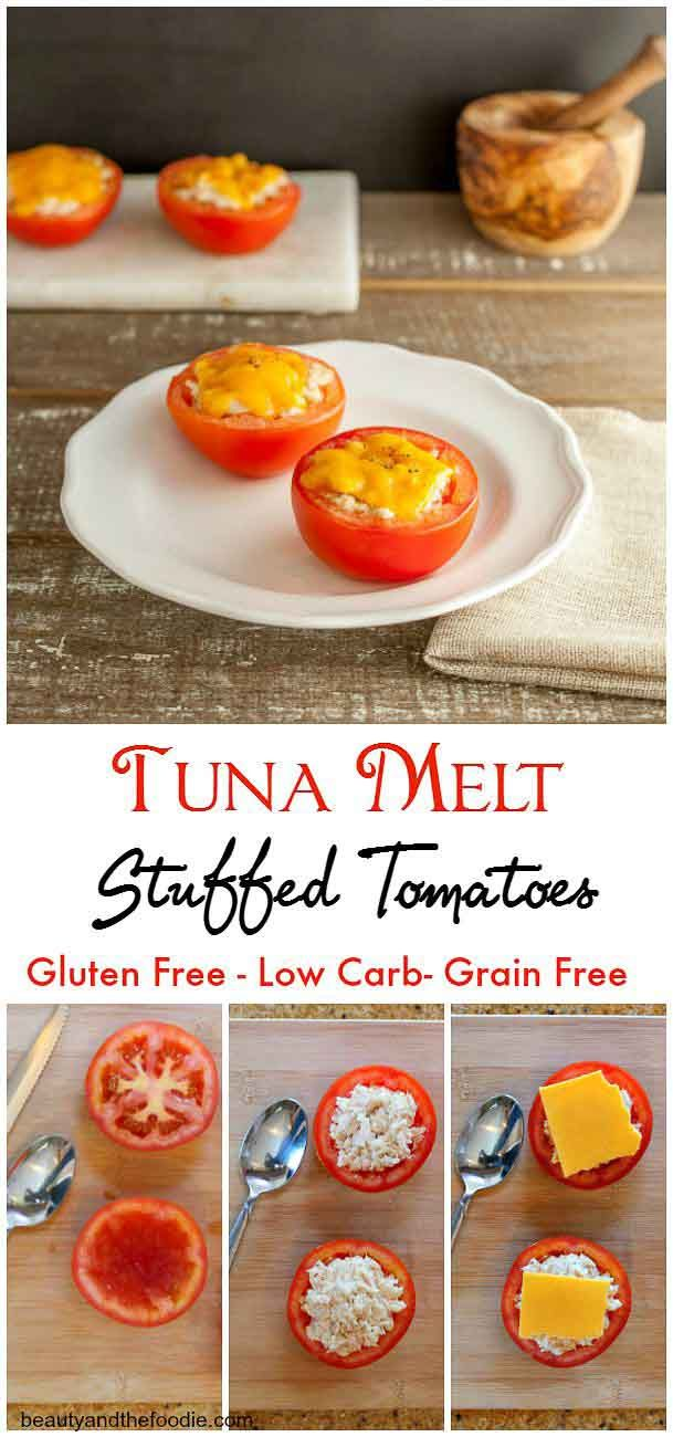 Tuna Melt Stuffed Tomatoes, grain free, low carb and primal