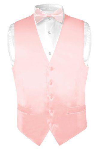 Biagio Men's Solid LIGHT PINK SILK Dress Vest Bow Tie Set for Suit or Tuxedo