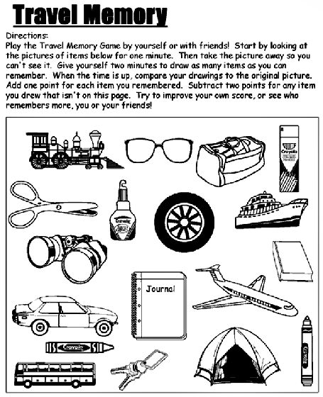 Travel Memory Game coloring page: Travel Memories, Memories Games, Coloring Pages, Roads Trips, Free Printable, Printable Games, Activities Ideas, Games Colors, Roadtrip Ideas