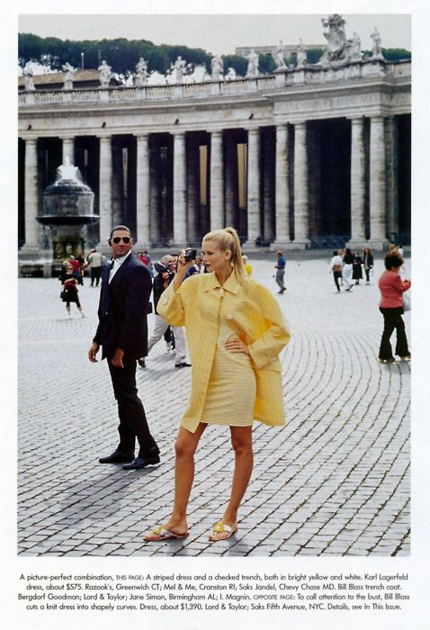 """Roman Holiday""  Vogue, December 1994  photographer: Arthur Elgort  Claudia Schiffer yellow striped dress and checked trench, St. Peter..."
