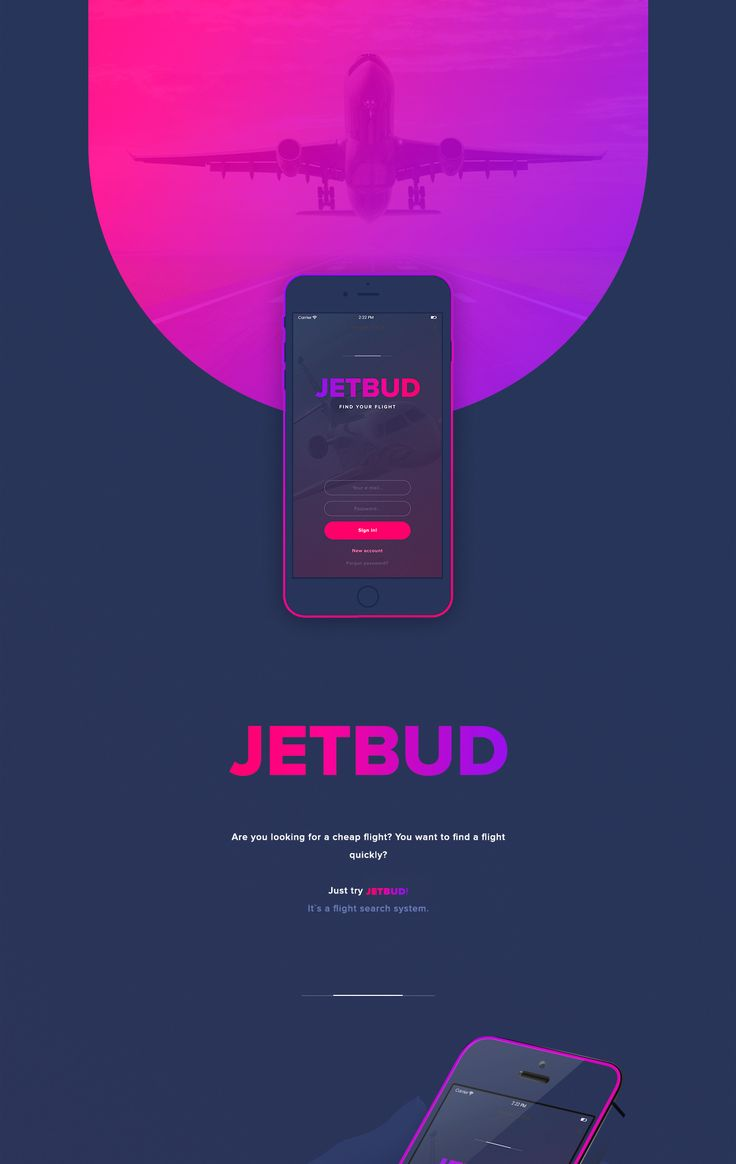 Design of JETBUD mobile application. Flight search system.