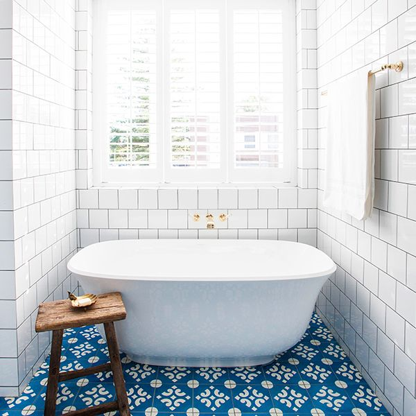 Pattern Tile | Blue and White | Brass | Amiata Freestanding Tub | Halcyon House | Victoria + Albert Baths