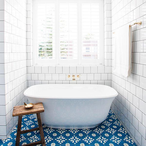 Pattern Tile   Blue and White   Brass   Amiata Freestanding Tub   Halcyon House   Victoria + Albert Baths