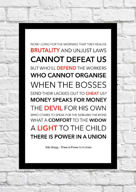 9 best billy bragg images on pinterest billy bragg lyrics and billy bragg there is power in a union lyrical by highestoffives stopboris Image collections