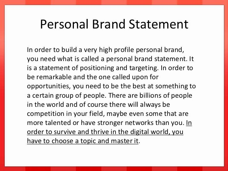 Personal Brand Statement Example Best Of Developing Your Branding