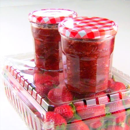 Strawberry Rhubarb Jam. This was my favorite when I was little.. Mom used to make it with Dad's garden strawberries and rhubarb. :)