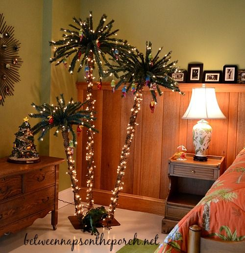 For everyone who's dreaming of a tropical escape. Check out these palm tree and tropical Christmas decor ideas on Beach Bliss Living: http://beachblissliving.com/palm-tree-christmas-decor/