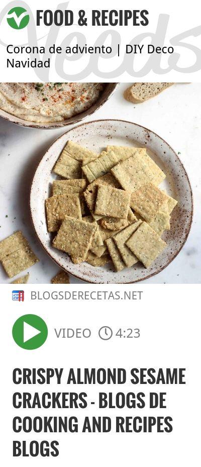 Crispy Almond Sesame Crackers - blogs de cooking and recipes blogs   http://veeds.com/i/VRvEmlJmyWi1bHDj/jummy/