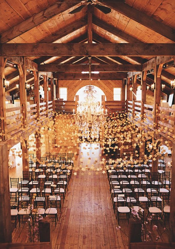 moon and stars themed barn wedding ceremony decor ideas