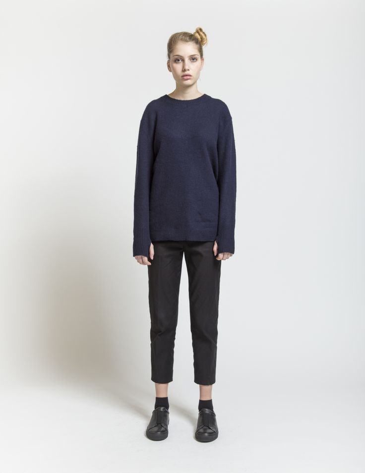 Selfhood - womensfashion outfit. Lambswool/nylon knit with cuff details. This crew knit is made of lambswool blend yarn, designed in a slightly oversized fit. Thumb holes are added in cuff.