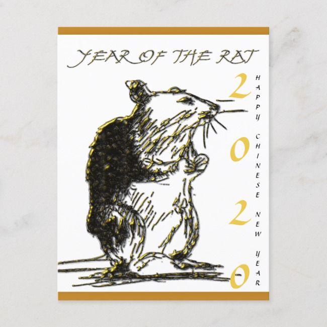 Rat Year 2020 Original Drawing Greeting Card Zazzle Com Card Drawing Greeting Cards Simple Christmas Cards