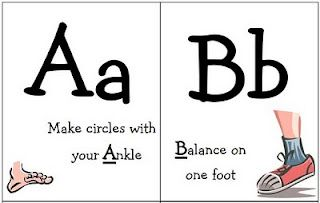 Free Printable Alphabet Exercise Cards.  Great exercises for kids and little old ladies, like me!