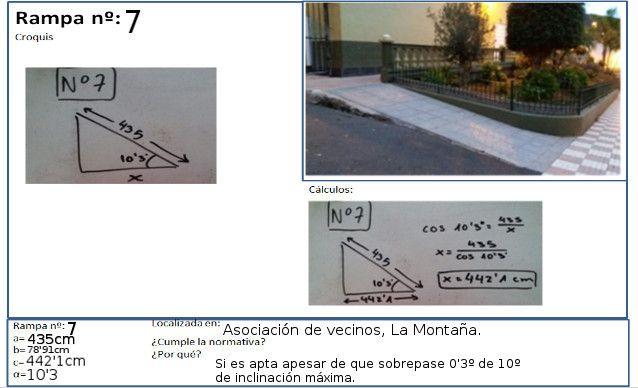 La rampa de la Asociación de Vecinos del barrio de La Montaña, cuenta con las siguientes medidas: 435 cm y 10.3 grados. Su horizontal es de 442.1 cm.