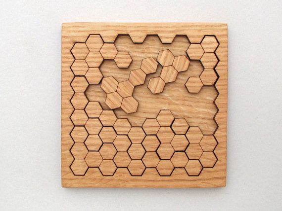Wooden Honeycomb Puzzle . Geometric Shapes par TimberGreenWoods, $22.95