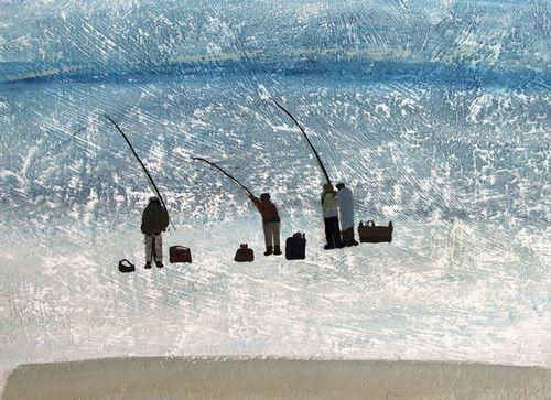 'Men Fishing' By painter Hannah Hann. Blank Art Cards By Green Pebble. www.greenpebble.co.uk