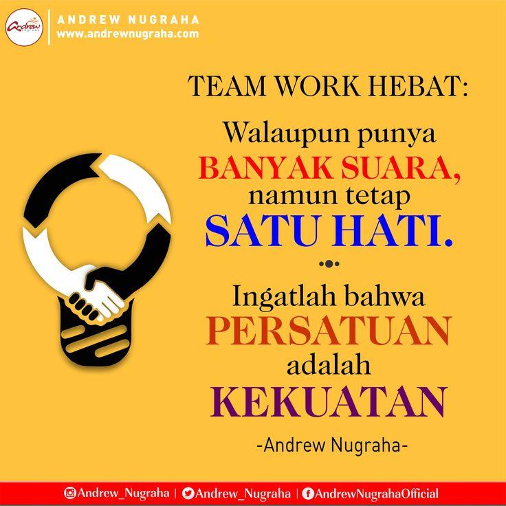 Walaupun punya.BANYAK SUARA, namun tetap SATU HATI.  Ingatlah bahwa  PERSATUAN  adalah  KEKUATAN.  #teamwork